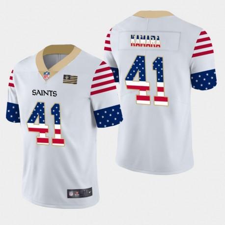 Hommes New Orleans Saints 41 Alvin Kamara Independence Day Americana Stars & Stripes Jersey - Blanc
