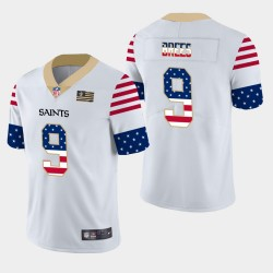Hommes New Orleans Saints Day 9 Drew Brees Independence Americana Stars & Stripes Jersey - Blanc