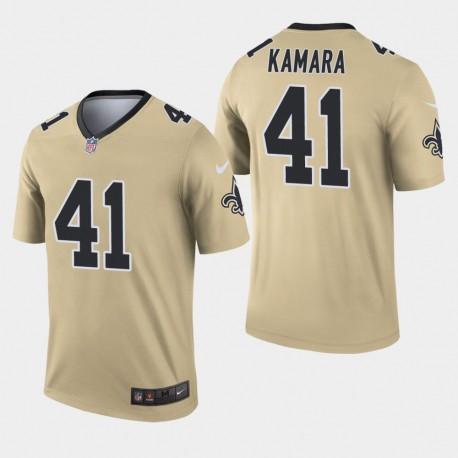 Nouvelle-Orléans Saints Hommes 41 Alvin Kamara Inverted Legend Jersey - Or