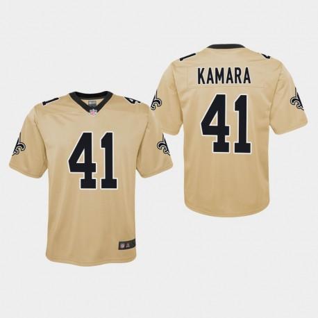 Jeunesse New Orleans Saints 41 Alvin Kamara Inversé Jeu Jersey - Or