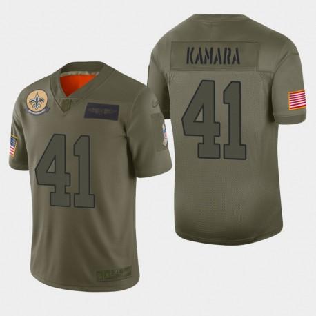 La Nouvelle-Orléans Saints Hommes 41 Alvin Kamara 2019 Salut au service Camo Jersey limitée