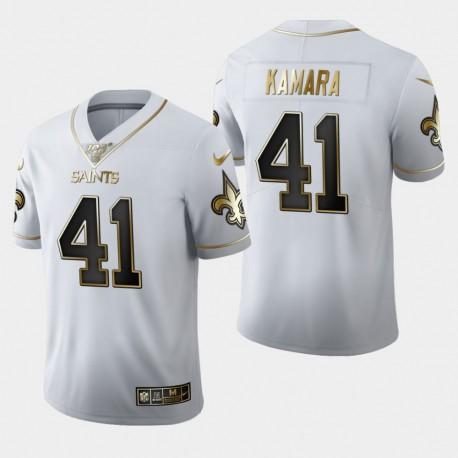 La Nouvelle-Orléans Saints hommes 41 Alvin Kamara 100ème Saison Golden Edition Jersey - Blanc