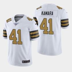 Hommes New Orleans Saints 41 Alvin Kamara 100ème saison couleur Rush Jersey - Blanc