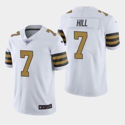 Hommes New Orleans Saints 7 Taysom Hill 100ème saison couleur Rush Jersey - Blanc