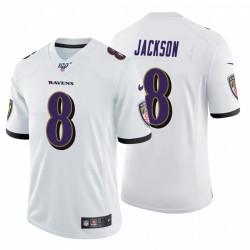 Ravens 8 Lamar Jackson Blanc 100ème saison de vapeur limitée Maillot
