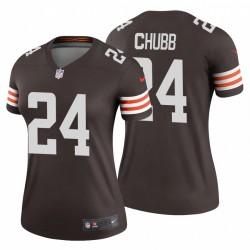 Nick Chubb 24 Cleveland Browns Legend Brown Maillot féminin