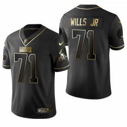 Browns Jedrick Wills Jr. Noir NFL Draft Golden Edition Maillot