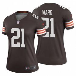 Denzel Ward Femmes 21 Cleveland Browns Legend Brown Maillot