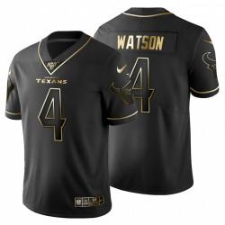 Houston Texans 4 hommes Deshaun Watson Noir Metallic Gold 100ème saison Maillot