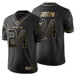 Houston Texans 24 hommes Johnathan Joseph Noir Metallic Gold 100ème saison Maillot