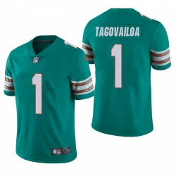 Tua Tagovailoa 1 Miami Dolphins Aqua NFL Draft Autre vapeur limitée Maillot