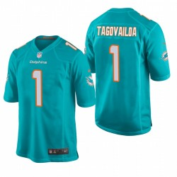 Tua Tagovailoa 1 Dolphins Aqua NFL Draft jeu Maillot