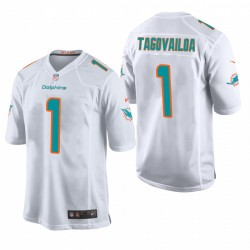 Tua Tagovailoa 1 Dolphins blanc NFL Draft jeu Maillot