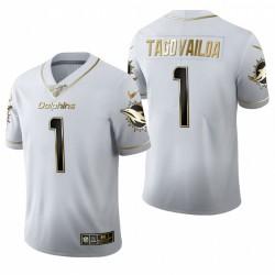 Dauphins Tua Tagovailoa blanc NFL Draft Golden Edition Maillot