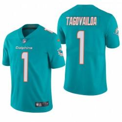 Tua Tagovailoa 0 Miami Dolphins Aqua vapeur limitée Maillot NFL Draft