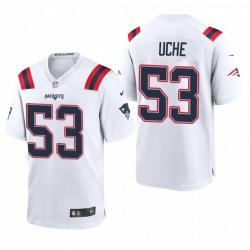 Josh Uche 53 Patriots blanc Draft NFL jeu Maillot
