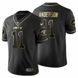 New York Jets 11 hommes Robby Anderson Noir Metallic Gold 100ème saison Maillot