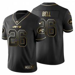 New York Jets 26 hommes Le'Veon Bell Noir Metallic Gold 100ème saison Maillot