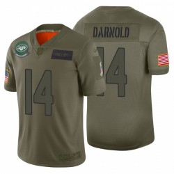 14 hommes Jets Sam Darnold New York Camo 2019 Salut à Service Limited Maillot