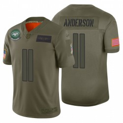 11 hommes Robby Anderson New York Jets Camo 2019 Salut à Service Limited Maillot