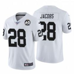 Josh Jacobs 28 Raiders d'Oakland 60e anniversaire Patch Blanc Vapor limitée Maillot Homme