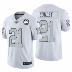 Gareon hommes Conley 21 Oakland Raiders 60e anniversaire Couleur Blanc Patch Rush Maillot