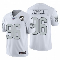 Clelin hommes Ferrell 96 Oakland Raiders 60e anniversaire Couleur Blanc Patch Rush Maillot