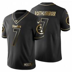 Steelers de Pittsburgh hommes 7 Ben Roethlisberger Noir Metallic Gold 100ème saison Maillot