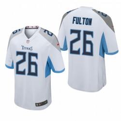 Blanc Kristian Fulton 26 Titans NFL Draft jeu Maillot