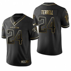 Falcons A.J. Terrell Noir NFL Draft Golden Edition Maillot