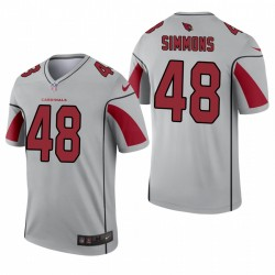 Arizona Cardinals 48 Isaiah Simmons Argent Inverted Legend Maillot