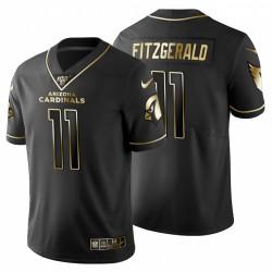 Arizona Cardinals 11 hommes Larry Fitzgerald Noir Metallic Gold 100ème saison Maillot