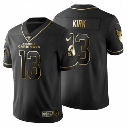 Arizona Cardinals Men 13 Kirk Christian Noir Metallic Gold 100ème saison Maillot